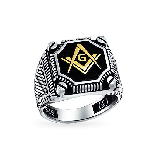 Hombres negro ónix piedra preciosa inlay Brújula masón masónico anillo de sello para los hombres sólido oxidado 925 plata hecha en Turquía