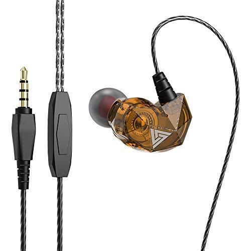 prendre イヤホン 有線 3.5mm カナル型 耳掛け マイク内蔵 リモコン 通話 音楽 スマートフォン タブレット スマホ iPhone Android (イエロー) QKZ-AK2-YE