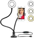 Support Téléphone avec Selfie Ring Light,le Flux en Direct et le Maquillage [10-Niveau Luminosité] [3-Mode d'Éclairage] Réglable Lampes Phone Accessoires (Noir)Support Paresseux pour Mobile