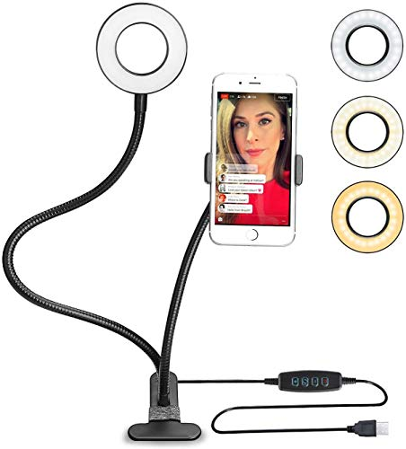 Selfie Ring Licht ( Schwarz) dimmbar 3 Leuchtmodi und 10 Helligkeiten Stufen,Für YouTube, Facebook, Twitter, Online-Chat, Make-up,Samsung, iPhone 7/8 / iPhone X, Tablet, Laptop, Leselicht Bettlampe