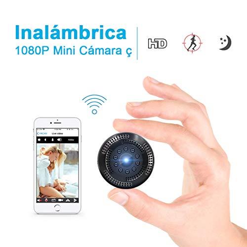 Supoggy Cámara Inalámbrica Oculta de Vigilancia con Resolución 1080P. Mini WiFi Cámara Espía con Grabación de Video Alerta de Detección de Movimiento, Visión Nocturna y Visualización Remota