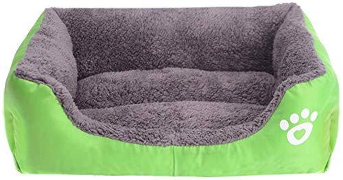 Herbst und Winter Rechteck Hundebett Hundekörbchen Waschbar Wasserdichtes Oxford-Tuch Hundesofa Hundekissen Hundekorb Non-silp, Haustierbett für Katzen und kleine bis mittelgroße Hunde,Grün,S