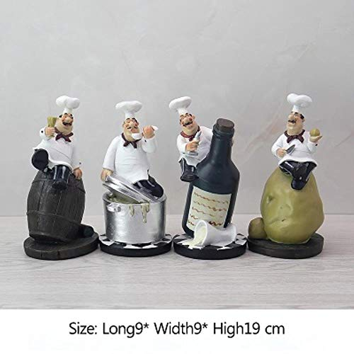 Retro Chef Model Ornamenten Hars Ambachten Chef Beeldjes Witte Hoge Hoed Cook Home Keuken Restaurant Bar Koffie Decor, AS-FOTO