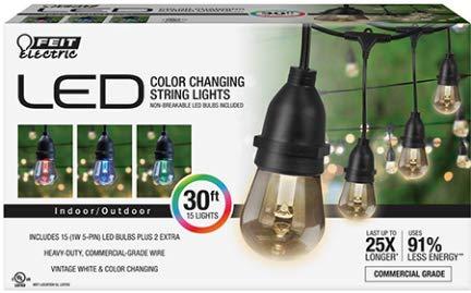 FunFlags 30 ft. LED 15 Socket String Lights