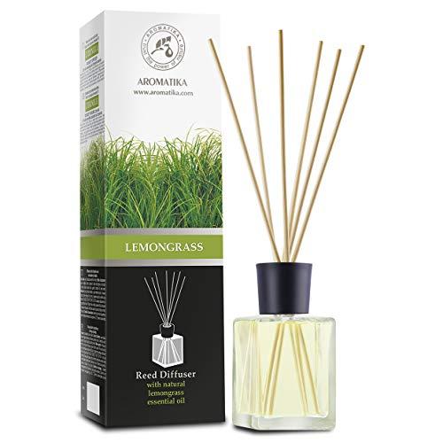 Difusor de Lemongrass 500ml - con Aceite de Lemongrass Natural - Intensivo - Fragancia Fresca y de Larga Duración - Difusor de Caña Perfumado con 8 Palos de Bambú