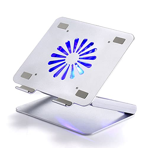 tengod Soporte de refrigeración para portátil plegable, ángulo ajustable, 4 puertos USB, placa de metal, ventilador silencioso, adecuado para iPad de 13 pulgadas