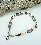 Handgemachtes Edelstein-Würfel-Armband mit verschiedenen Hämatit und rosegold Strass Perlen, Edelstahl Verschluss