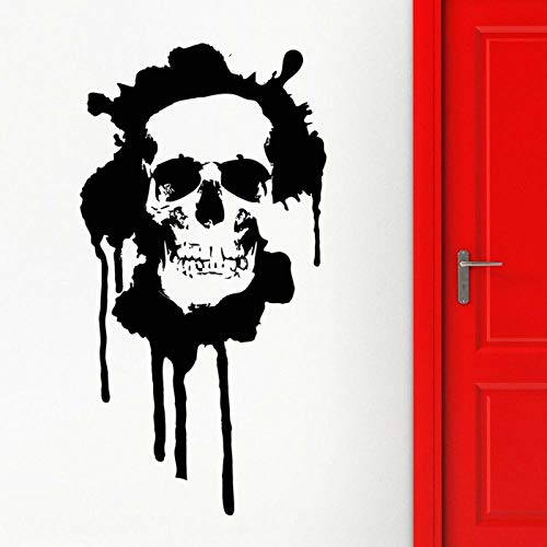 YIMING Calcomanía de pared de hueso de calavera estilo de muerte moderno Grunge adolescentes dormitorio hombre cueva Bar fiesta decoración interior puerta ventana vinilo pegatinas 74x140cm