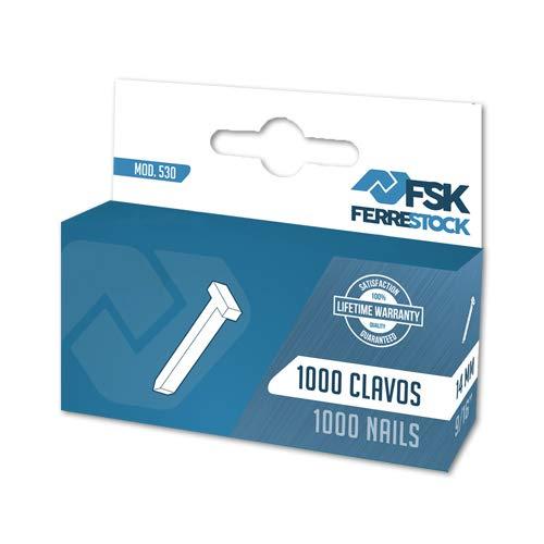 Ferrestock Fskcl014 Clavos Tipo 530 Cuadradas de 14Mm X1000 Unidades en Forma de T Para Grapadoras Clavadoras Engrapadoras Manuales y Eléctricas, Fijación en Parecedes, Tapicería, Carpinteria