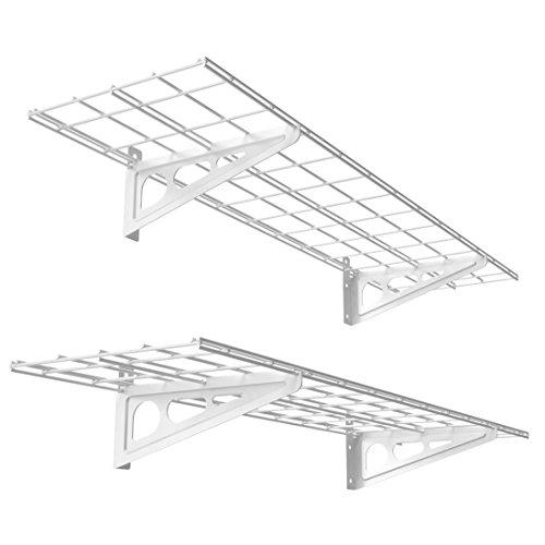 FLEXIMOUNTS 1' x 4' White 2-Pack 1x4ft 12-inch-by-48-inch Wall Shelf Garage Storage Rack, 12