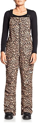 DC Collective Softshell Bib Womens Snowboard Pants Leopard Fade Sz M