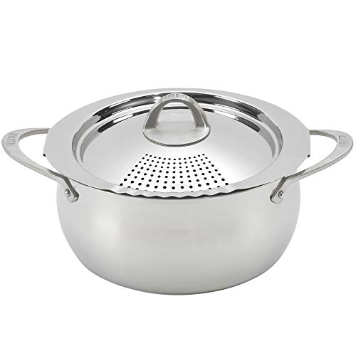 Bialetti 07593 Oval 6 Quart Multi-Pot with Strainer Lid, Stainless Steel