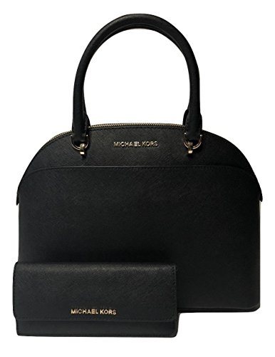 MICHAEL Michael Kors Emmy Large Dome Satchel bundled with Michael Kors Jet Set Travel Flat Wallet (Black)