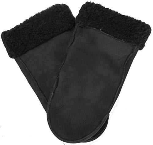 EEM Lammfell Fäustlinge LEONIE Handschuhe aus echtem gewachsenem Lammfell; schwarz, Größe L