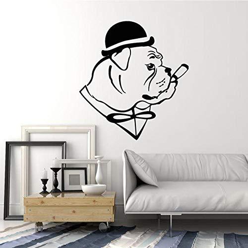 GVFTG Engelse Bulldog Hond in Hoed Gentleman Sigaren Vinyl Muursticker Huisdecoratie Woonkamer Art Mural Verwijderbare Muurstickers 58X63cm