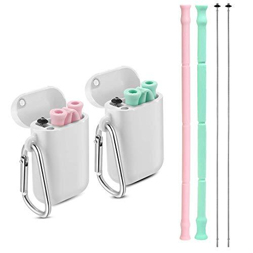 CLONIC 2 cannucce in acciaio inox, riutilizzabili, cannucce pieghevoli in metallo, con spazzola di pulizia, ideale per frullati, bevande fredde, casa e viaggio Pink &Grün