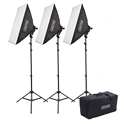 "Fovitec - 3-Light 3000W Fluorescent Lighting Kit for Photo & Video with 20""x28"" Softboxes, stands, & Carry Case"