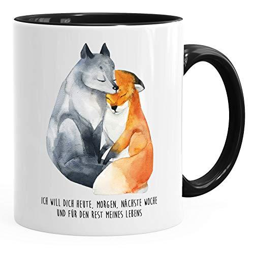 Geschenk-Tasse Liebe Spruch Ich will dich heute morgen nächste Woche Fuchs verliebt Freund Freundin MoonWorks® schwarz unisize