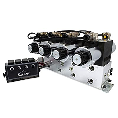 Electric Hydraulic Double Acting Control Valve w/Rocker Switch, 4 Spool, 25 GPM (A Spool, Controls Double Acting Cylinders, 12 Volt) from Summit Hydraulics