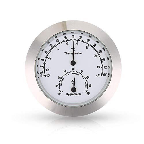 MeterMall Beste voor Smart voor 1.7inch Ronde Thermometer Hygrometer Vochtigheid Temperatuur Meting voor Viool Gitaar Case Instrument Care Monitoring Meter Tool Zilver