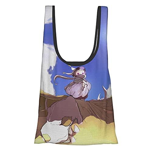 ハクメイとミコチ エコバッグ 買い物袋 大容量 折りたたみ 防水 オシャレ ハンドバッグ 洗える 肩から提げれる ポケット入れでき男性 女性兼用 38x64cm