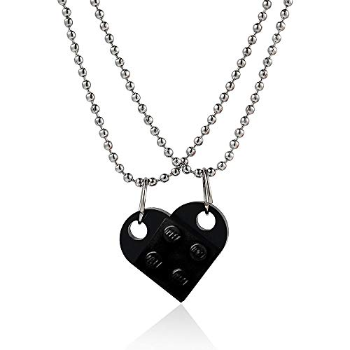 Fashion Necklace Couples Brick Heart Pendant Shaped Necklace For Friendship 2 Two Piece Jewelry Made With Lego Elements Valentine's Day Gift 2PcsBlack