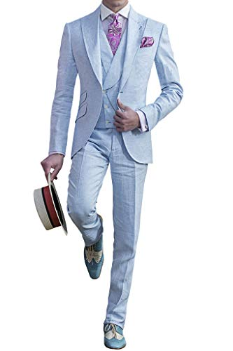 Judi Dench Abito da Uomo 3 Pezzi Completo Giacca Gilet Pantaloni Tuta, Taglia 4XL, Blu