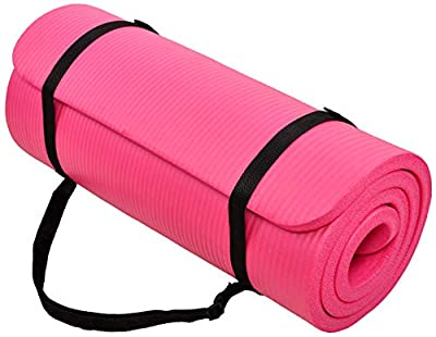 BalanceFrom GoCloud All-Purpose 1-Inch Extra Thick High Density Anti-Tear Exercise Yoga Mat with Carrying Strap (Pink)