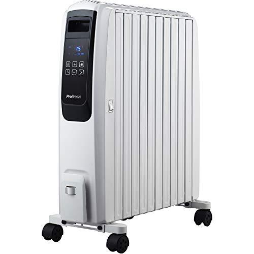 Pro Breeze Premium 2500W Ölradiator energiesparend mit digitalem Display & Fernbedienung - Heizkörper elektrisch mit 10 Rippen, 4 Heizstufen, 24h Timer, Thermostat & Überhitzungsschutz