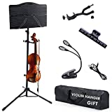 Best Music Stands - Klvied Sheet Music Stand with Violin Hanger, Portable Review