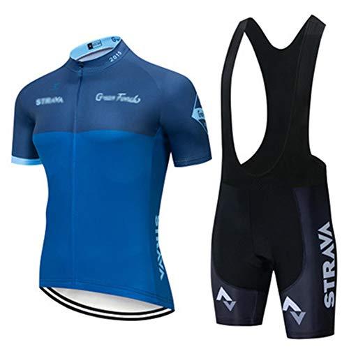 Fahrradanzug Für Herren, Kurzarm Oberteil, Radlerhose Trikot Mit Gel-Pad, Für MTB, Spinning, Rennrad Mens Summer Cycling (Blau 1,L)