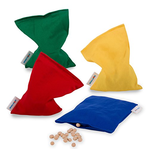 Sport-Thieme 4er Set Bohnensäckchen | Strapazierfähige Hülle aus Baumwolle | Nicht waschbar mit Bohnenfüllung | Vier Farben | 120g | 15 x 10 cm