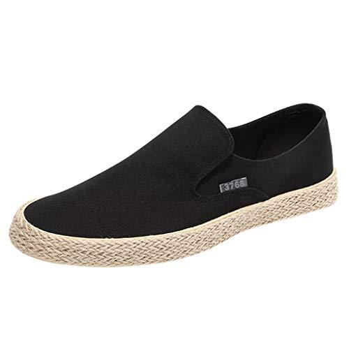 HoSayLike Zapatos De Hombre Casual Moda Lino Zapatos De Tela Un Pedal Perezoso Zapatos De Pescador Paja Transpirable Slip-On Plana con Zapatos De Lona
