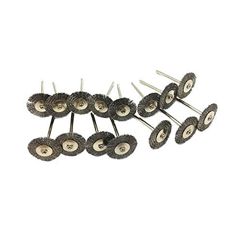 Luo ke 15 Pcs T Shape Stainless Steel Wire Brushes Wheel 1/8'' Mandrel Rust Removed Polishing Wheel For Dremel Rotary Tool