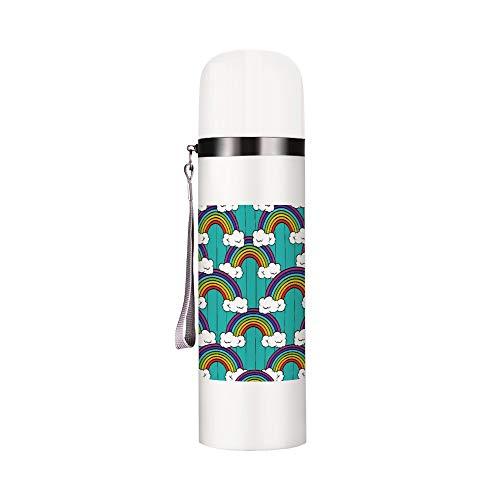 Bullet Warhead Botella de agua a prueba de fugas de agua aislada al vacío botella de agua de metal reutilizable termo resistente botella de deporte fácil de limpiar perfecta para correr, gimnasio, yoga al aire libre, camping, diseño de líneas de nubes arcoíris – 12 oz