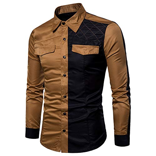 Men's Shirt Slim Fit Long Sleeve Shirt Leisure Business Wedding Party Shirt Breathable Comfortable Shirt Kent Collar Classic Fashion Chest Pockets Shirt Soft Simple All-Match Tops M