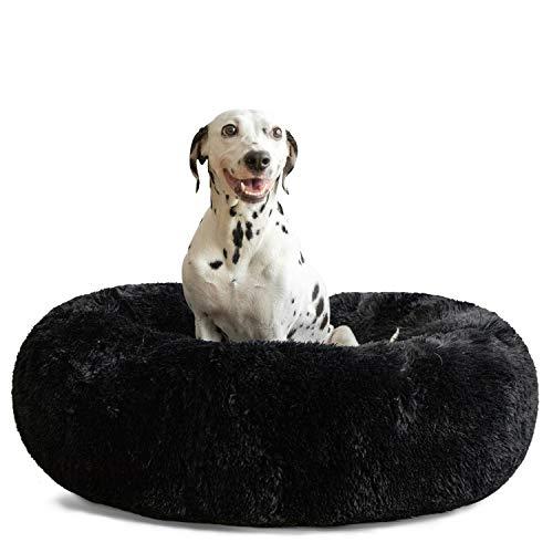 HACHIKITTY Hundebett, beruhigender Donut-Knuddel, für große Hunde, für den Innenbereich, groß, XL (36 x 36''), schwarz