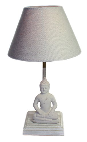 Tischlampe Lampe Buddha Höhe 34 cm Beton grau E14 max 40W, Nicht enthalten