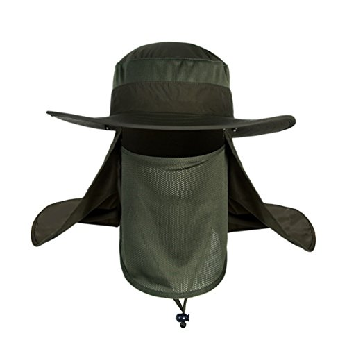 Belababy Outdoor Sun Cap for Men and Women UPF 50+ UV Sun Protection with Neck Flap, Face Cover Mask Army Green