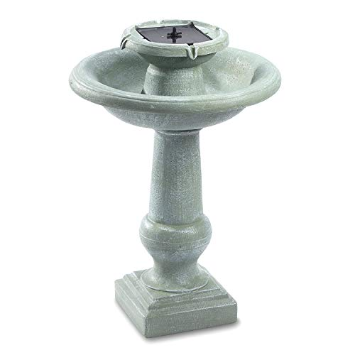 Smart Solar 24220RM1 Chatsworth 2-Tier Solar-On-Demand Fountain, 30-Inch, Weathered Stone