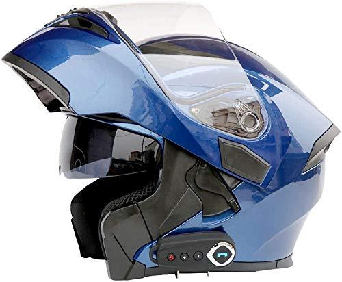 Feeyond Casco Bluetooth para Motocicleta, Casco Completo con Visera Solar Doble Modular, Casco Certificado por Dot, Sistema De Comunicación Walkie-Talkie Integrado De Transmisión MP3 FM,O,L