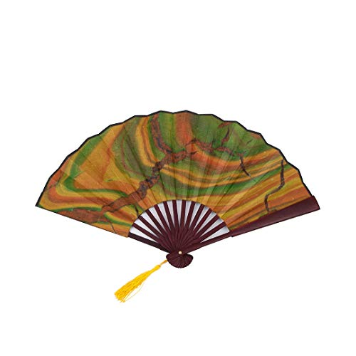 Fan by Hand Romantic Elegant Retro Jade Green with Bamboo Frame Tassel Pendant and Cloth Bag Handheld Folding Fans for Women Traditional Japanese Fan Large Hand Fan