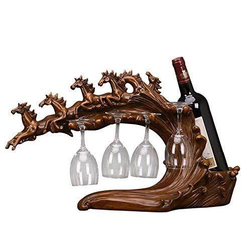Hyy-YY - Soporte para botellas de vino, para uso en casa, cocina, mesa de arte, soporte de almacenamiento (color: marrón, tamaño: un tamaño)