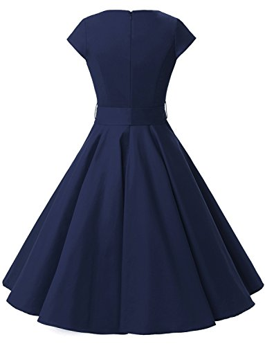 Dressystar Damen Vintage 50er Cap Sleeves Dot Einfarbig Rockabilly Swing Kleider M Marineblau - 4