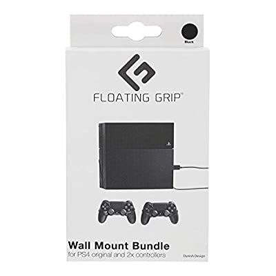 FLOATING GRIP® mounts for PS4 original, bundle package for PlayStation 4 original and controllers, vertical rope wall mounts (black), Patent pending and proprietary design, Made in Denmark by FLOATING GRIP Trading ApS