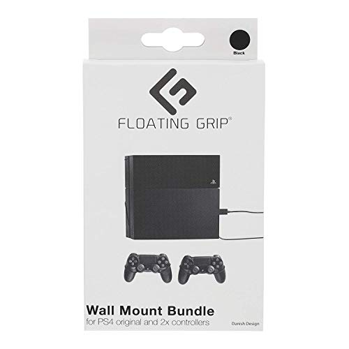 FLOATING GRIP Wall Mounts for PlayStation 4 (PS4 Original) + 2x Controllers. Color: BLACK. Storage your PlayStation on the wall right next to your TV
