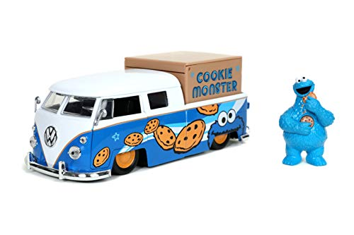 Jada Toys Sesame Street Cookie Monster & 1962 Volkswagen Bus 1:24 Die - Cast Vehicle with Figure (31751)