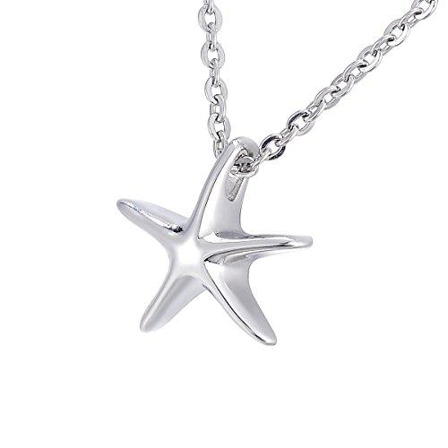 K-Y - Collar con colgante urna en forma de estrella de mar en acero inoxidable, cadena de 55,8 cm