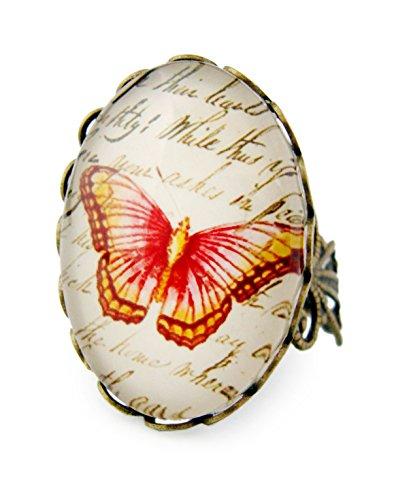 Miss Lovie Damen Schmuck Modeschmuck Ring Vintage Schmetterling Verstellbar Rot - 25x18mm Cabochon Bronze