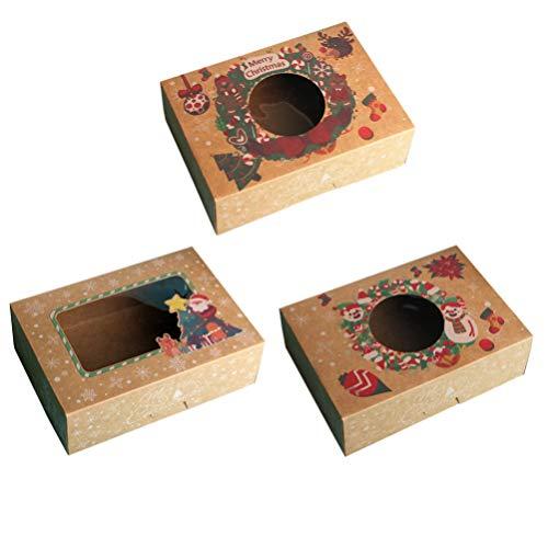 GARNECK 3 Piezas Cajas de Galletas de Navidad Santa Claus Muñeco de Nieve Cajas de Dulces de Papel Kraft con Ventana Transparente Cajas de Dulces de Panadería de Navidad Suministros de